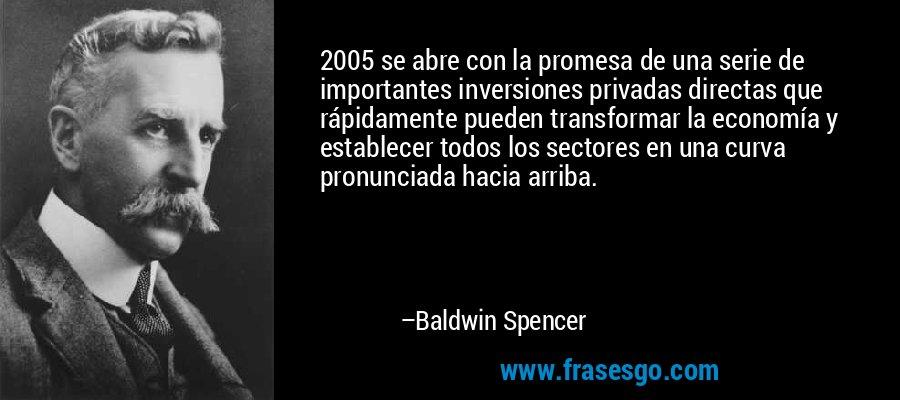 2005 se abre con la promesa de una serie de importantes inversiones privadas directas que rápidamente pueden transformar la economía y establecer todos los sectores en una curva pronunciada hacia arriba. – Baldwin Spencer