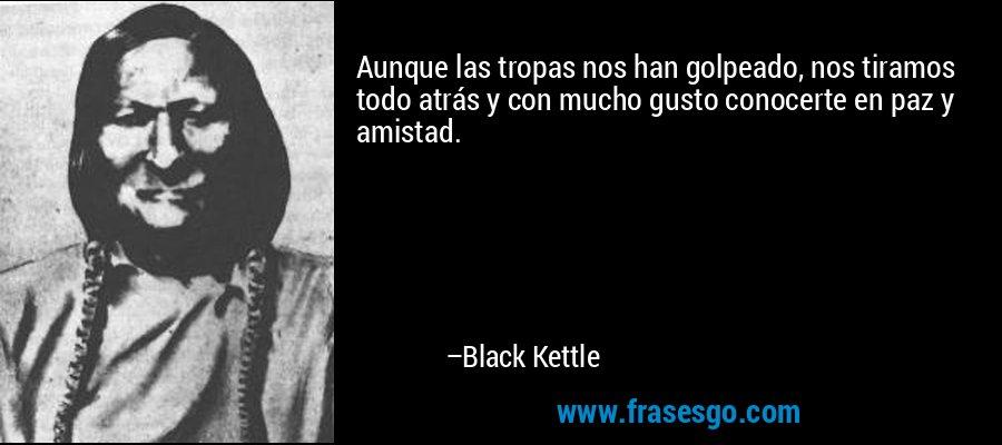 Aunque las tropas nos han golpeado, nos tiramos todo atrás y con mucho gusto conocerte en paz y amistad. – Black Kettle
