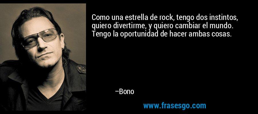 Como una estrella de rock, tengo dos instintos, quiero divertirme, y quiero cambiar el mundo. Tengo la oportunidad de hacer ambas cosas. – Bono