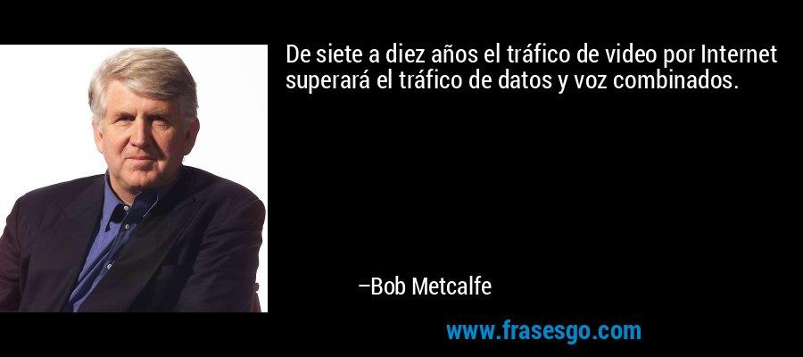 De siete a diez años el tráfico de video por Internet superará el tráfico de datos y voz combinados. – Bob Metcalfe
