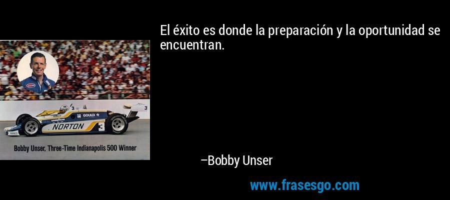 El éxito es donde la preparación y la oportunidad se encuentran. – Bobby Unser