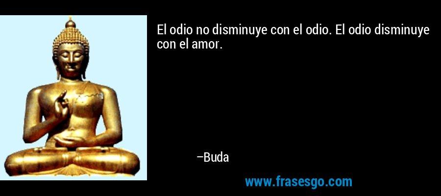El odio no disminuye con el odio. El odio disminuye con el amor. – Buda
