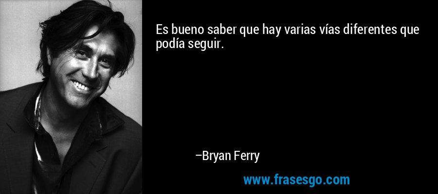 Es bueno saber que hay varias vías diferentes que podía seguir. – Bryan Ferry
