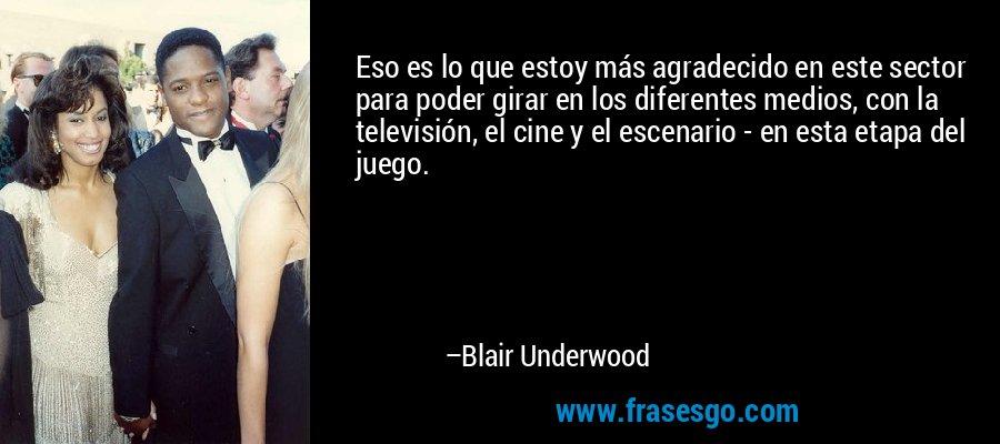Eso es lo que estoy más agradecido en este sector para poder girar en los diferentes medios, con la televisión, el cine y el escenario - en esta etapa del juego. – Blair Underwood