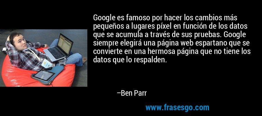 Google es famoso por hacer los cambios más pequeños a lugares píxel en función de los datos que se acumula a través de sus pruebas. Google siempre elegirá una página web espartano que se convierte en una hermosa página que no tiene los datos que lo respalden. – Ben Parr