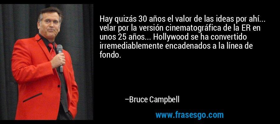 Hay quizás 30 años el valor de las ideas por ahí... velar por la versión cinematográfica de la ER en unos 25 años... Hollywood se ha convertido irremediablemente encadenados a la línea de fondo. – Bruce Campbell