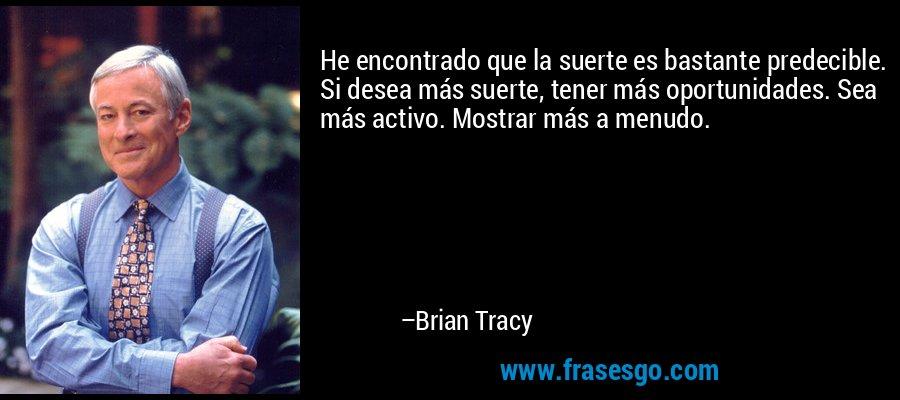He encontrado que la suerte es bastante predecible. Si desea más suerte, tener más oportunidades. Sea más activo. Mostrar más a menudo. – Brian Tracy