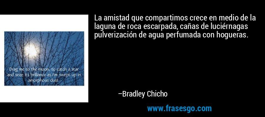 La amistad que compartimos crece en medio de la laguna de roca escarpada, cañas de luciérnagas pulverización de agua perfumada con hogueras. – Bradley Chicho