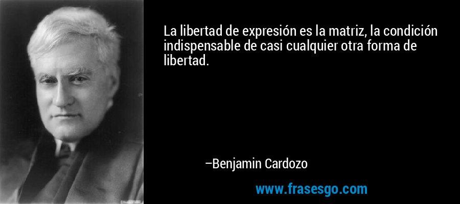 La libertad de expresión es la matriz, la condición indispensable de casi cualquier otra forma de libertad. – Benjamin Cardozo