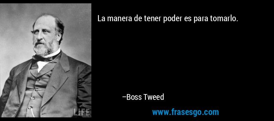 La manera de tener poder es para tomarlo. – Boss Tweed