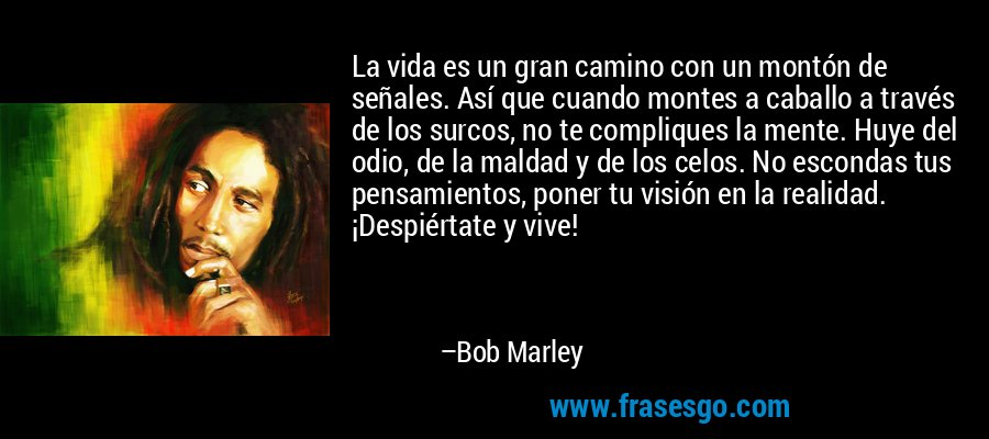 La vida es un gran camino con un montón de señales. Así que cuando montes a caballo a través de los surcos, no te compliques la mente. Huye del odio, de la maldad y de los celos. No escondas tus pensamientos, poner tu visión en la realidad. ¡Despiértate y vive! – Bob Marley