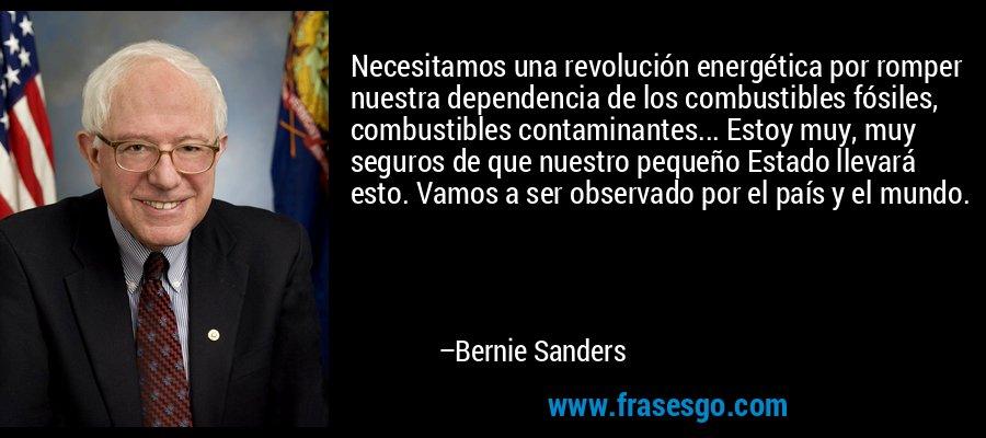 Necesitamos una revolución energética por romper nuestra dependencia de los combustibles fósiles, combustibles contaminantes... Estoy muy, muy seguros de que nuestro pequeño Estado llevará esto. Vamos a ser observado por el país y el mundo. – Bernie Sanders
