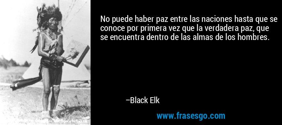 No puede haber paz entre las naciones hasta que se conoce por primera vez que la verdadera paz, que se encuentra dentro de las almas de los hombres. – Black Elk