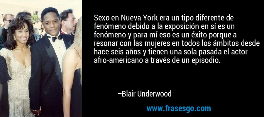 Sexo en Nueva York era un tipo diferente de fenómeno debido a la exposición en sí es un fenómeno y para mí eso es un éxito porque a resonar con las mujeres en todos los ámbitos desde hace seis años y tienen una sola pasada el actor afro-americano a través de un episodio. – Blair Underwood