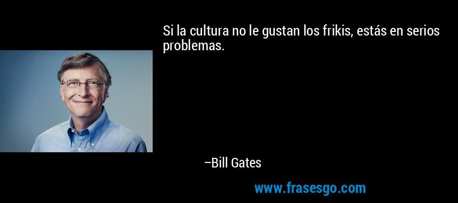 Si la cultura no le gustan los frikis, estás en serios problemas. – Bill Gates