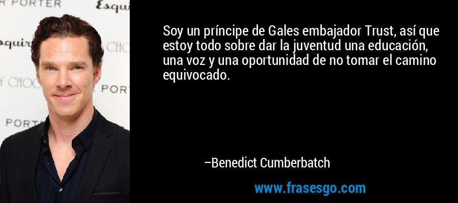 Soy un príncipe de Gales embajador Trust, así que estoy todo sobre dar la juventud una educación, una voz y una oportunidad de no tomar el camino equivocado. – Benedict Cumberbatch
