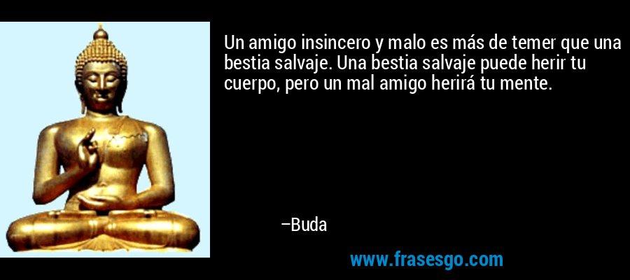 Un amigo insincero y malo es más de temer que una bestia salvaje. Una bestia salvaje puede herir tu cuerpo, pero un mal amigo herirá tu mente. – Buda