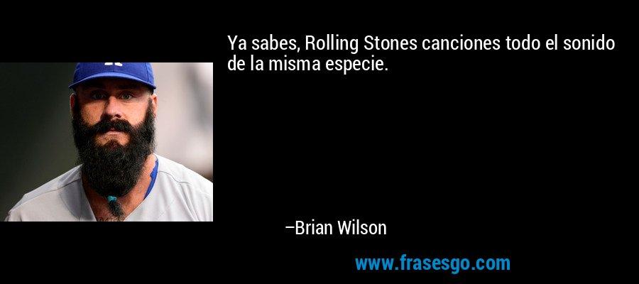 Ya sabes, Rolling Stones canciones todo el sonido de la misma especie. – Brian Wilson