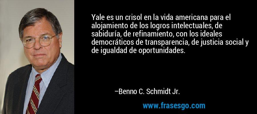 Yale es un crisol en la vida americana para el alojamiento de los logros intelectuales, de sabiduría, de refinamiento, con los ideales democráticos de transparencia, de justicia social y de igualdad de oportunidades. – Benno C. Schmidt Jr.