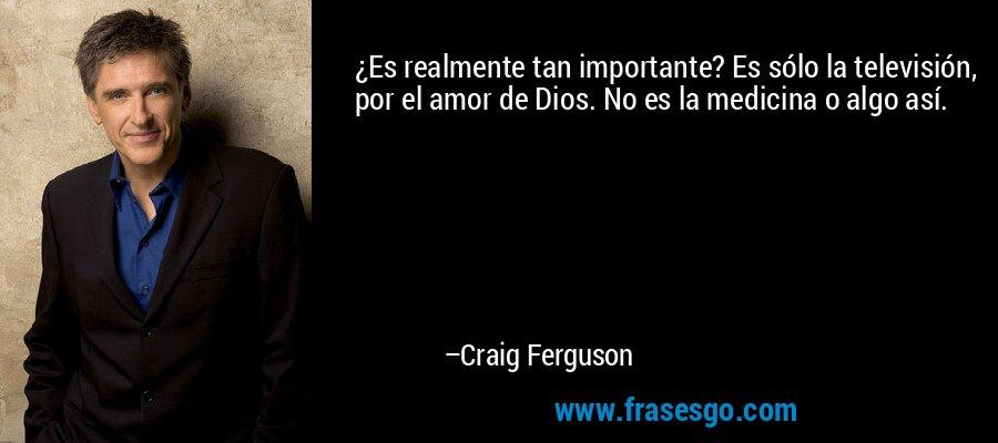 ¿Es realmente tan importante? Es sólo la televisión, por el amor de Dios. No es la medicina o algo así. – Craig Ferguson