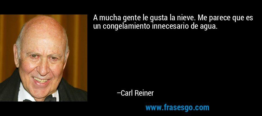 A mucha gente le gusta la nieve. Me parece que es un congelamiento innecesario de agua. – Carl Reiner