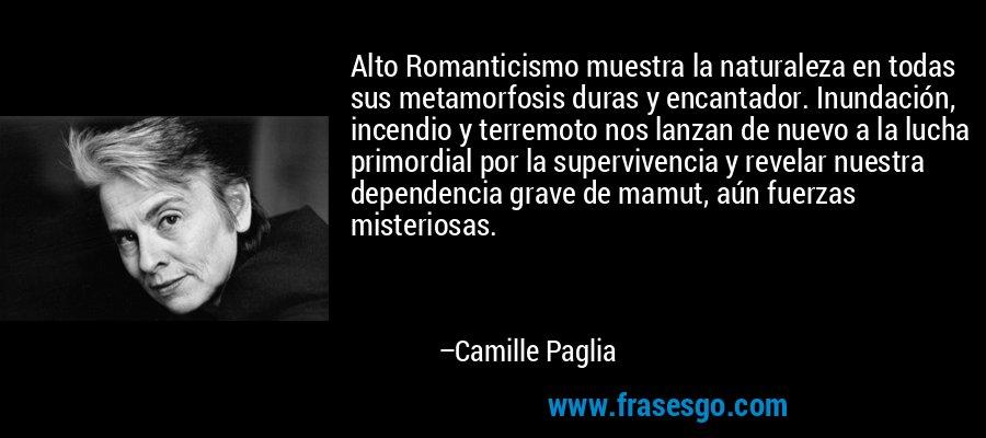 Alto Romanticismo muestra la naturaleza en todas sus metamorfosis duras y encantador. Inundación, incendio y terremoto nos lanzan de nuevo a la lucha primordial por la supervivencia y revelar nuestra dependencia grave de mamut, aún fuerzas misteriosas. – Camille Paglia