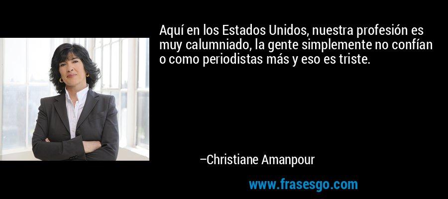 Aquí en los Estados Unidos, nuestra profesión es muy calumniado, la gente simplemente no confían o como periodistas más y eso es triste. – Christiane Amanpour