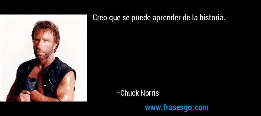 Creo que se puede aprender de la historia. – Chuck Norris