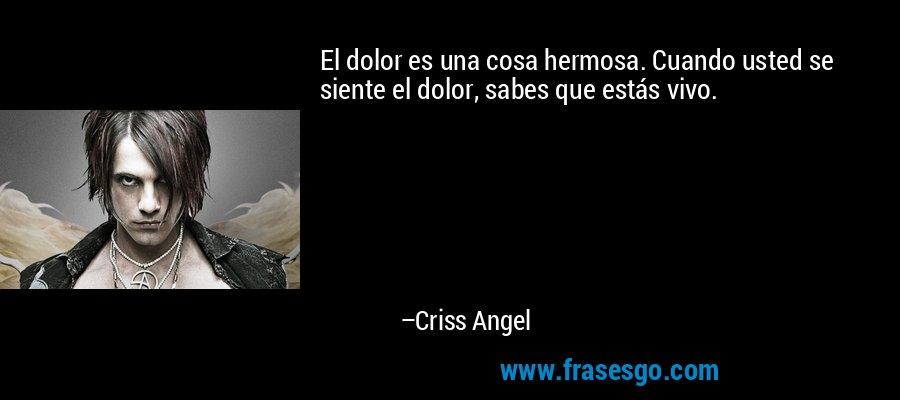 El dolor es una cosa hermosa. Cuando usted se siente el dolor, sabes que estás vivo. – Criss Angel