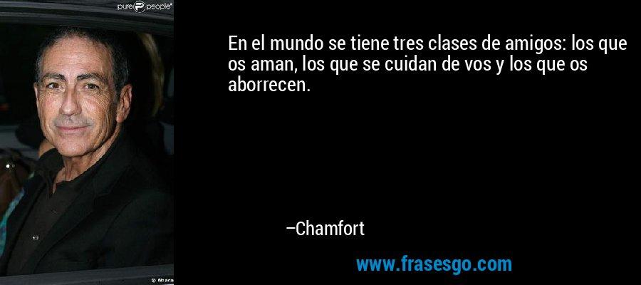 En el mundo se tiene tres clases de amigos: los que os aman, los que se cuidan de vos y los que os aborrecen. – Chamfort