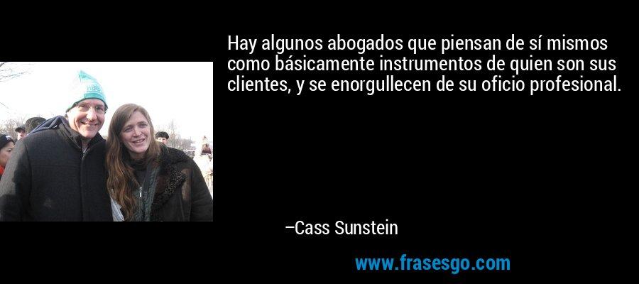 Hay algunos abogados que piensan de sí mismos como básicamente instrumentos de quien son sus clientes, y se enorgullecen de su oficio profesional. – Cass Sunstein