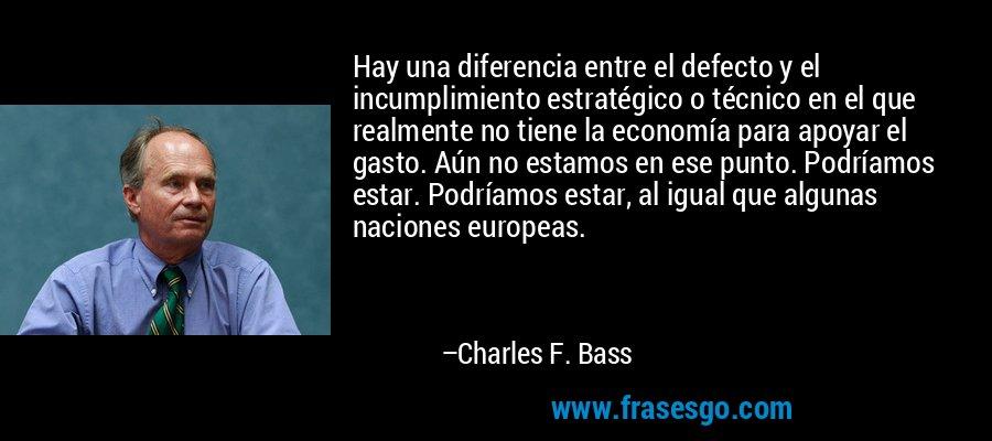 Hay una diferencia entre el defecto y el incumplimiento estratégico o técnico en el que realmente no tiene la economía para apoyar el gasto. Aún no estamos en ese punto. Podríamos estar. Podríamos estar, al igual que algunas naciones europeas. – Charles F. Bass