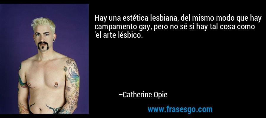 Hay una estética lesbiana, del mismo modo que hay campamento gay, pero no sé si hay tal cosa como 'el arte lésbico. – Catherine Opie