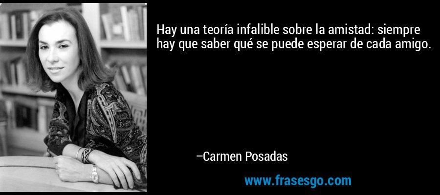 Hay una teoría infalible sobre la amistad: siempre hay que saber qué se puede esperar de cada amigo. – Carmen Posadas