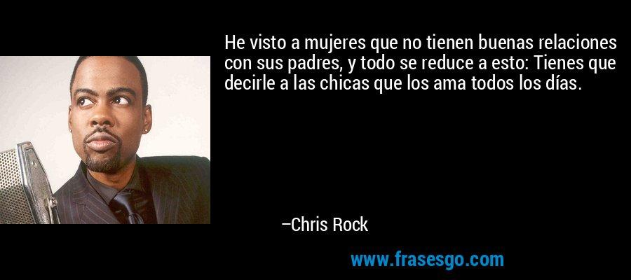 He visto a mujeres que no tienen buenas relaciones con sus padres, y todo se reduce a esto: Tienes que decirle a las chicas que los ama todos los días. – Chris Rock