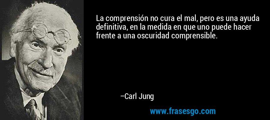 La comprensión no cura el mal, pero es una ayuda definitiva, en la medida en que uno puede hacer frente a una oscuridad comprensible. – Carl Jung