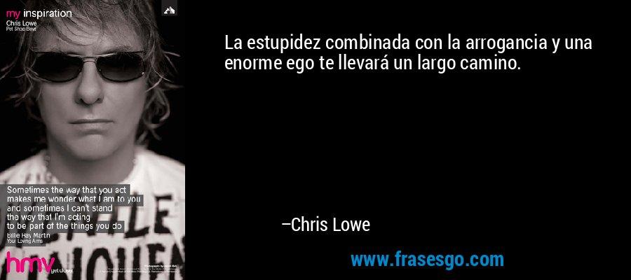 La estupidez combinada con la arrogancia y una enorme ego te llevará un largo camino. – Chris Lowe