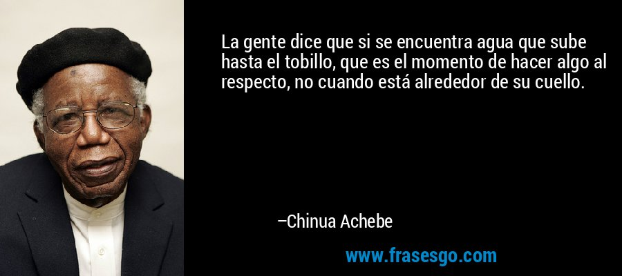 La gente dice que si se encuentra agua que sube hasta el tobillo, que es el momento de hacer algo al respecto, no cuando está alrededor de su cuello. – Chinua Achebe