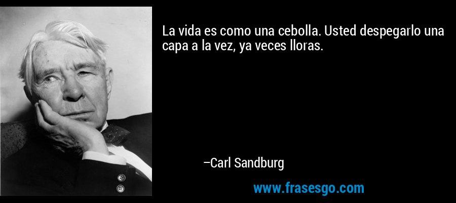 La vida es como una cebolla. Usted despegarlo una capa a la vez, ya veces lloras. – Carl Sandburg
