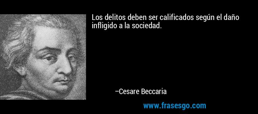 Los delitos deben ser calificados según el daño infligido a la sociedad. – Cesare Beccaria
