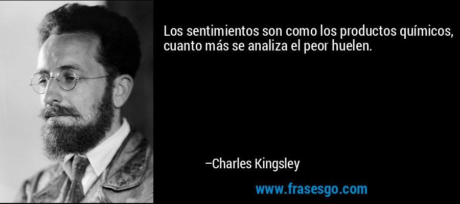 Los sentimientos son como los productos químicos, cuanto más se analiza el peor huelen. – Charles Kingsley