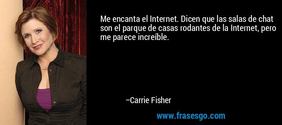 Me encanta el Internet. Dicen que las salas de chat son el parque de casas rodantes de la Internet, pero me parece increíble. – Carrie Fisher