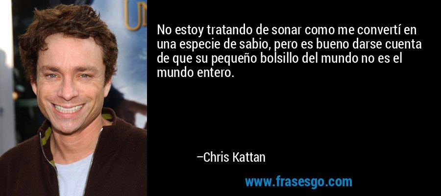 No estoy tratando de sonar como me convertí en una especie de sabio, pero es bueno darse cuenta de que su pequeño bolsillo del mundo no es el mundo entero. – Chris Kattan