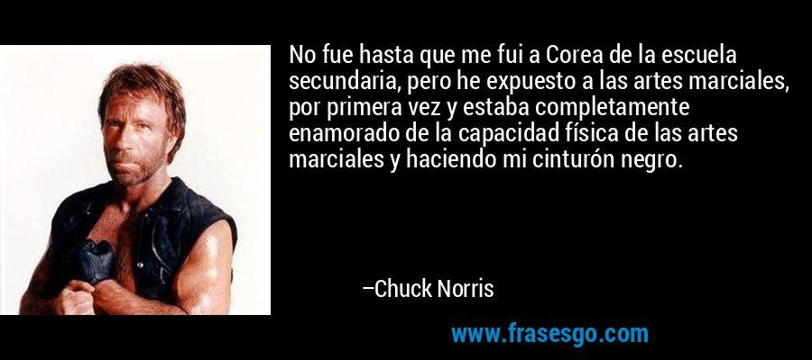 No fue hasta que me fui a Corea de la escuela secundaria, pero he expuesto a las artes marciales, por primera vez y estaba completamente enamorado de la capacidad física de las artes marciales y haciendo mi cinturón negro. – Chuck Norris