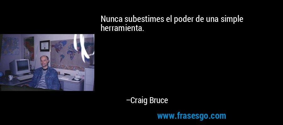 Nunca subestimes el poder de una simple herramienta. – Craig Bruce