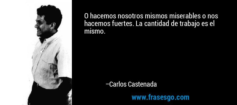 O hacemos nosotros mismos miserables o nos hacemos fuertes. La cantidad de trabajo es el mismo. – Carlos Castenada
