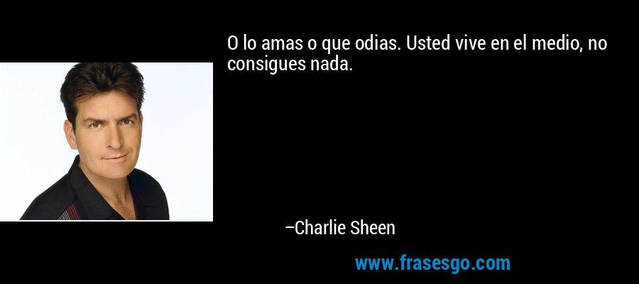O lo amas o que odias. Usted vive en el medio, no consigues nada. – Charlie Sheen