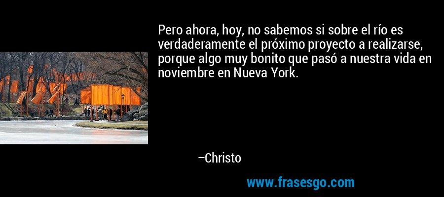 Pero ahora, hoy, no sabemos si sobre el río es verdaderamente el próximo proyecto a realizarse, porque algo muy bonito que pasó a nuestra vida en noviembre en Nueva York. – Christo