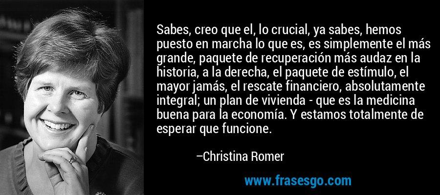 Sabes, creo que el, lo crucial, ya sabes, hemos puesto en marcha lo que es, es simplemente el más grande, paquete de recuperación más audaz en la historia, a la derecha, el paquete de estímulo, el mayor jamás, el rescate financiero, absolutamente integral; un plan de vivienda - que es la medicina buena para la economía. Y estamos totalmente de esperar que funcione. – Christina Romer