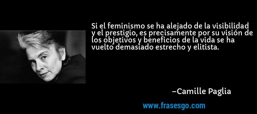 Si el feminismo se ha alejado de la visibilidad y el prestigio, es precisamente por su visión de los objetivos y beneficios de la vida se ha vuelto demasiado estrecho y elitista. – Camille Paglia